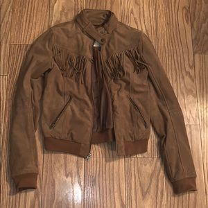 Hollister fringe cowgirl jacket tan fall blazer